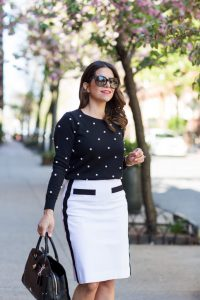 Photo courtesy of http://thecorporatecatwalk.com/wp-content/uploads/2016/05/Worth-New-York-Black-Pearl-Sweater-and-White-pencil-skirt_8-683x1024.jpg