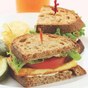 tofu lettuce and tomato sandwich