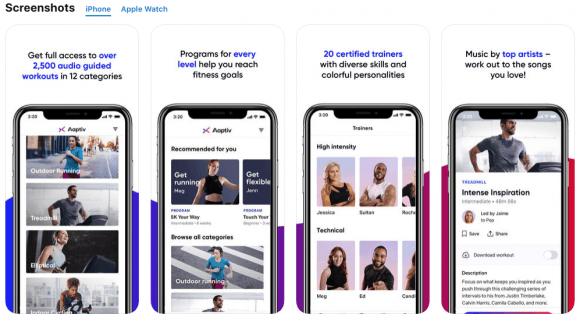 aaptiv fitness app screenshots